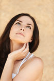 Romantic woman looking up Royalty Free Stock Image