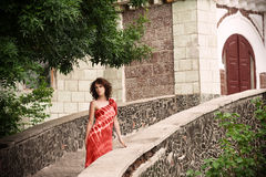Romantic woman in old city of Odessa Royalty Free Stock Photography