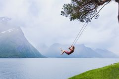 Free Romantic Woman On Swing, Dream And Inspiration Stock Image - 114396081