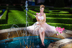 Romantic woman posing outdoor Royalty Free Stock Photography
