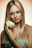 Romantic woman with rose Royalty Free Stock Image