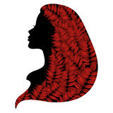Romantic woman silhouette with autumn leafs in her hair. Vector silhouette of woman with autumn leafs in the hair royalty free illustration