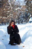 Romantic woman in snow Royalty Free Stock Photo