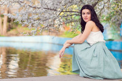 Romantic woman in a spring park Royalty Free Stock Photo
