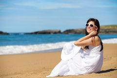 Romantic woman on summer beach vacation Royalty Free Stock Photography