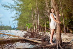 Romantic woman on tropical beach Royalty Free Stock Images