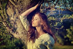Woman in Tuscany garden. Romantic Woman in Tuscany garden stock images