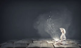 Romantic woman using laptop Stock Image