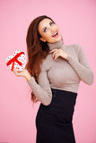 Romantic woman with a Valentine gift Stock Photo