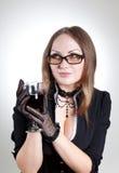 Romantic woman wearing glasses stock image
