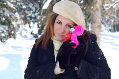 Romantic woman in winter Stock Images