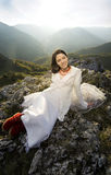 Romantic Woman With Red Boots Stock Photography