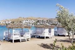 Romantic wooden  lounge bungalows on the beach.Bodrum,Turkey Royalty Free Stock Image