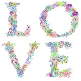 Romantic word ''LOVE''  wreathed with watercolor succulents, flowers and leaves on a white background Royalty Free Stock Photos