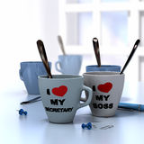 Romantic Workplace Relationship. Concept consisting of two mugs where it is written I love My secretary and my boss Stock Photo