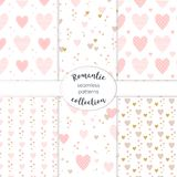Pink and gold hearts collection of seamless vector patterns stock image