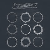 Romantic Wreaths on Chalkboard Stock Images