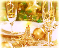 Romantic Xmas dinner Royalty Free Stock Images