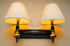 Romantic yellow lamps Stock Photos
