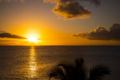 Romantic yellow sunset on a beach of Martinique. Romantic yellow sunset on the Caribbean beach of Martinique Royalty Free Stock Photography