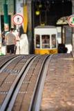 Romantic yellow tramway - main symbol of Lisbon, Portugal Stock Photography