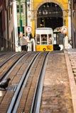 Romantic yellow tramway - main symbol of Lisbon, Portugal Royalty Free Stock Photos