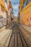 Romantic yellow tramway - main symbol of Lisbon, Portugal.  Royalty Free Stock Photo