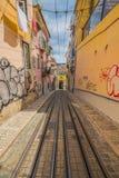 Romantic yellow tramway - main symbol of Lisbon, Portugal Royalty Free Stock Photo
