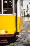 Romantic yellow tramway - main symbol of Lisbon, Portugal Stock Photos