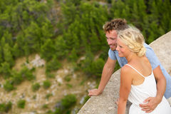 Romantic young beautiful couple looking at view Royalty Free Stock Image
