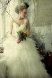Romantic young bride in vintage interior Royalty Free Stock Photography