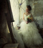 Romantic young bride in vintage interior Royalty Free Stock Photo