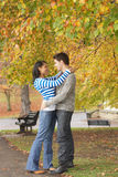 Romantic Young Couple. In Autumn Park Stock Image