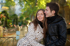 Romantic young couple. At sunny autumn day stock image