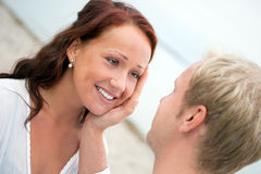 Romantic young couple on the beach Royalty Free Stock Images