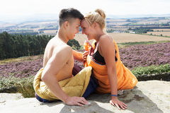 Romantic Young Couple On Camping Holiday Royalty Free Stock Images