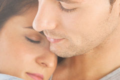Closeup of young couple embraced Stock Photography