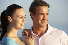 Romantic Young Couple Enjoying Beach Holiday Stock Photo
