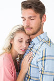 Romantic young couple with eyes closed Royalty Free Stock Image