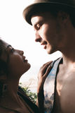 Romantic Young Couple Facing Each Other Royalty Free Stock Images