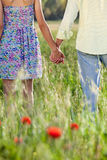 Romantic young couple holding hands on a date. Royalty Free Stock Images