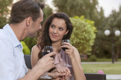 Romantic young couple holding hands while having red wine in park Royalty Free Stock Images