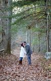 Romantic young couple holding hands and kissing in the woods stock images