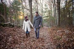 Romantic young couple holding hands walking in the woods. A romantic young couple holding hands and walking in the woods on a cold fall day with sun setting stock images