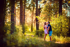 Romantic young couple kissing on background summer forest. Romantic young couple kissing  on background summer forest Stock Photography