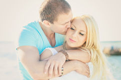 Romantic young couple kissing. Stock Photo
