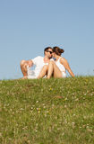Romantic young couple kissing Stock Photos