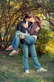 Romantic young couple kissing... Stock Photography