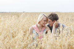 Romantic young couple looking at each other while relaxing amidst field Royalty Free Stock Photography