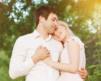 Romantic young couple in love outdoors royalty free stock photo